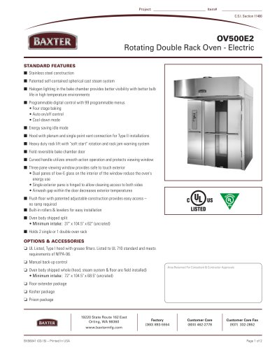 OV500E2 Rotating Double Rack Oven - Electric