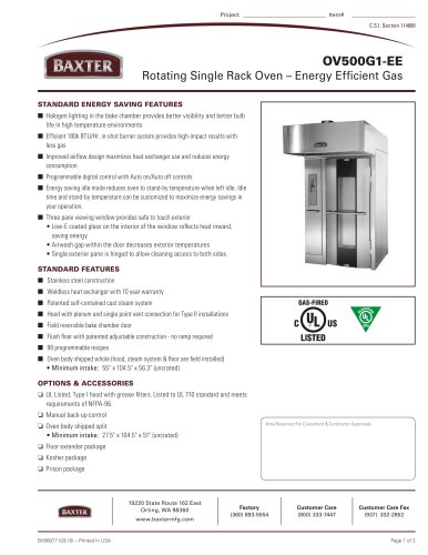 OV500G1-EE Rotating Single Rack Oven ? Energy Efficient Gas