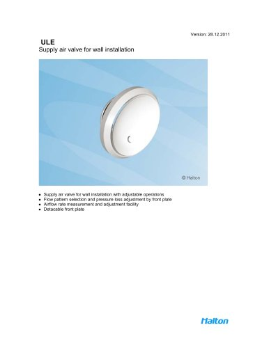 ULE Supply air valve for wall installation