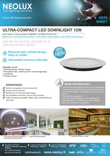 Ultra-compact LED downlight 12W