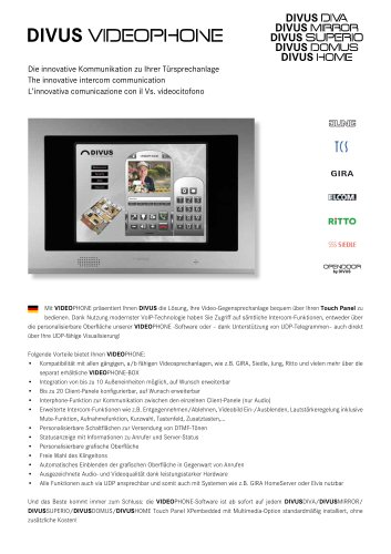 DIVUS VIDEOPHONE - The innovative intercom communication