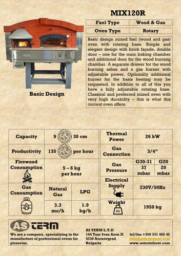 Wood & Gas Rotary Oven: MIX120R