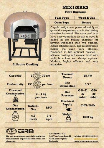 Wood & Gas Rotary Oven: MIX120RKS (2 Burners)