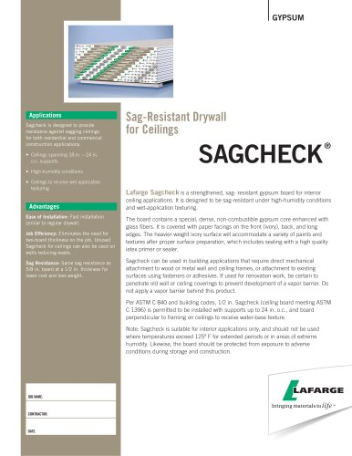 Sag-Resistant Drywall for Ceiling