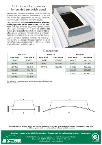 GFPR monobloc upstands for bended sandwich panel