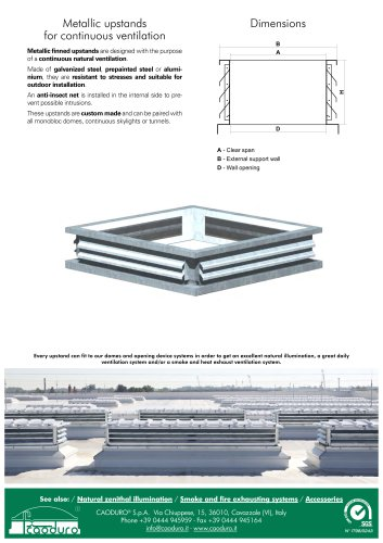 Metallic upstands for continuous ventilation