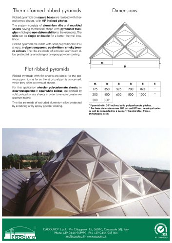 Thermoformed ribbed pyramids