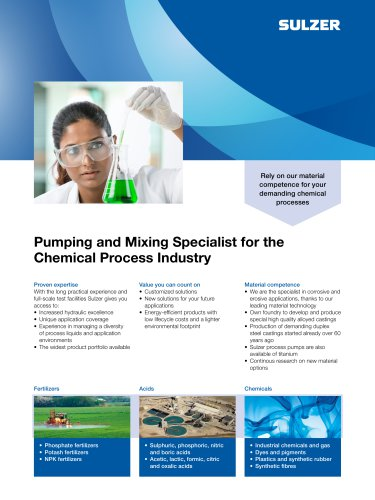 Pumping and Mixing Specialist for the Chemical Process Industry