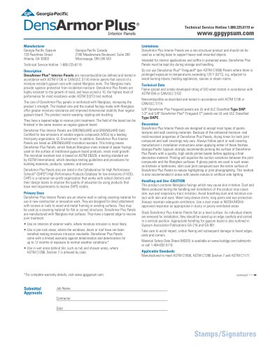DensArmor Plus® Interior Panels Submittal