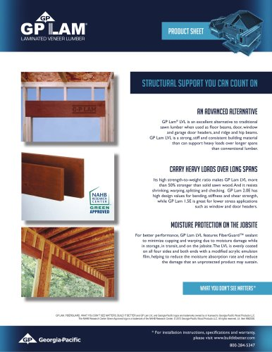 Literature:GP LAM Laminated Veneer Lumber - Structural Support You Can Count On