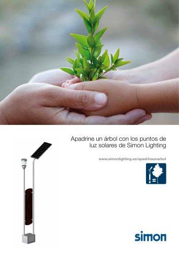 un árbol con los puntos de luz solares