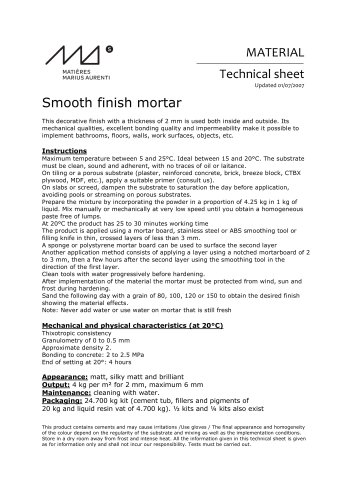 Smooth finish mortar Technical sheet