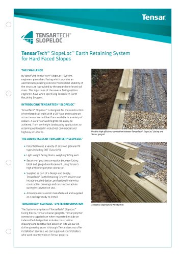 TensarTech SlopeLoc Earth Retaining System for Hard Faced Slopes