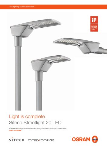 Light is complete Siteco Streetlight 20 LED