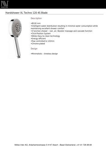 Handshower XL Techno 120 4S Blade