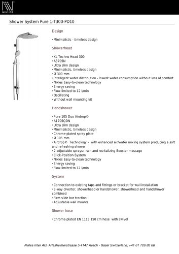 Shower System Pure 1-T300-PD10