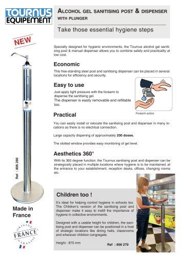 Alcohol gel sanitising post & dispenser