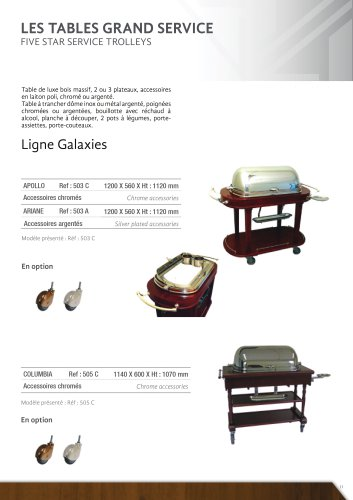 LES TABLES GRAND SERVICES: LIGNE GALAXIES