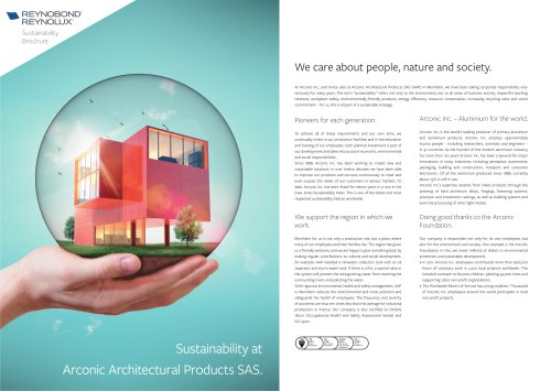 Sustainability at Arconic Architectural Products SAS