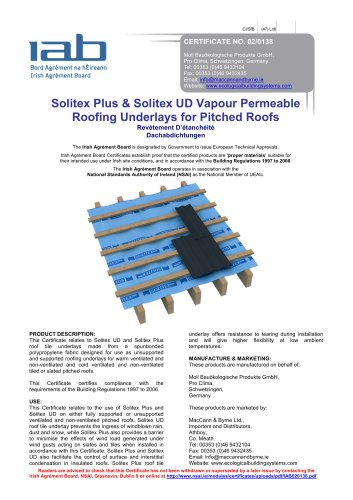 Solitex Plus & Solitex UD Vapour Permeable  Roofing Underlays for Pitched Roofs