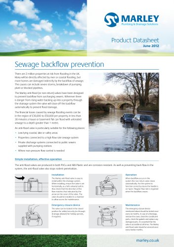Anti-flood valve datasheet