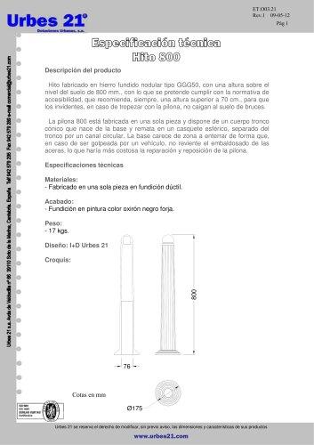 BOLARDO H=800 MM.