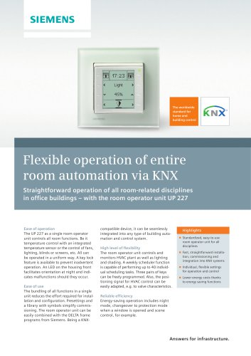 Flexible operation of entire room automation via KNX