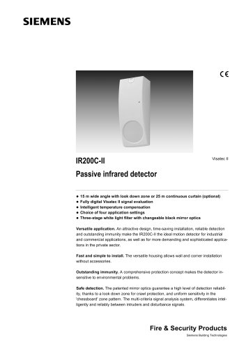 IR200.. - Professional Visatec II™ PIR detector, 15 m wide angle