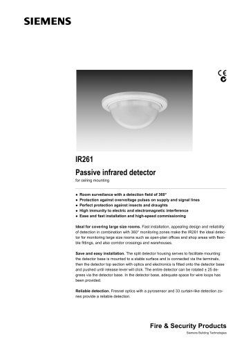 IR261 - Passive infrared detector for ceiling