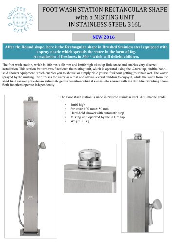 FOOT	WASH STATION RECTANGULAR SHAPE with a MISTING UNIT IN STAINLESS STEEL	316L