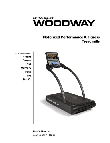 UM-MT-EN-01 Woodway Motorized User's Manual