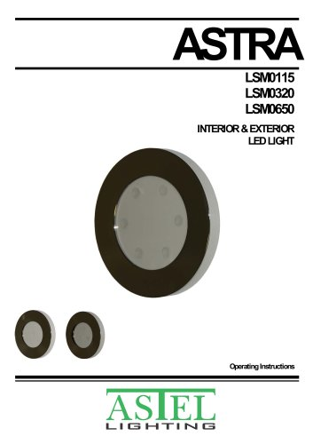 ASTRA LSM0115, LSM0320, LSM0650: Surface-mount interior & exterior LED downlights