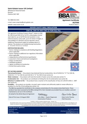 ISOVER CAVITY WALL INSULATION CWS 36, CWS 34 AND CWS 32 FOR FULL FILL