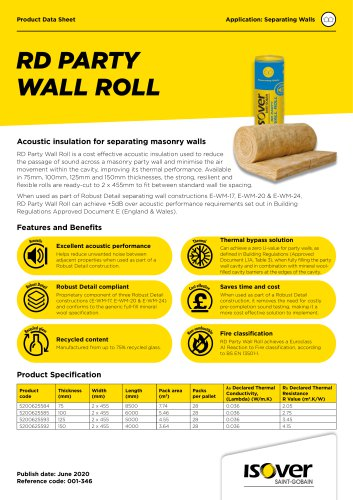 ISOVER RD Party Wall Roll