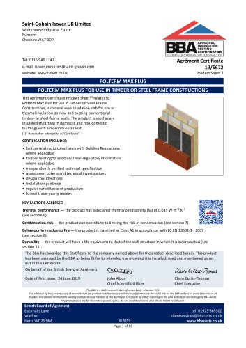 POLTERM MAX PLUS FOR USE IN TIMBER OR STEEL FRAME CONSTRUCTIONS