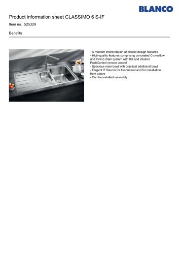 Product information sheet CLASSIMO 6 S-IF Item no. 525329