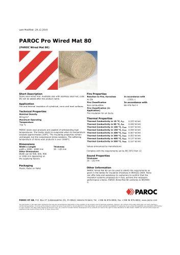 PAROC Pro Wired Mat 80