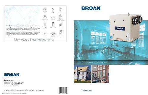 BROAN Balanced Ventilation Systems (IAQ) Catalog