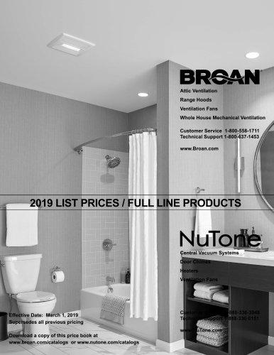 Broan Price List Catalog