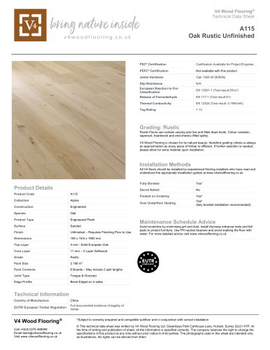 A115 Oak Rustic Unfinished